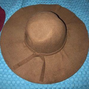 Brown felt floppy hat
